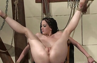 Restrained sub roughly fucked and whipped