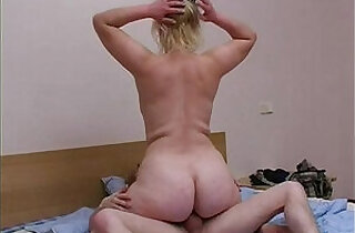 Blonde mom with son