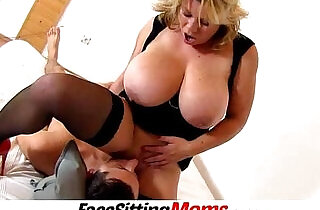Huge round tits mom Silvy Vee cunnilingus with a boy