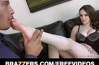 Busty brunette dominatrix tells her man to titty fuck huge natural boobs