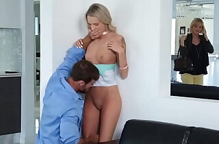 Step dad cock stuffed on Emma Hixs mouth and she swallow