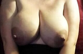 old Mom milking her big boobs