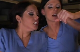 Femdom nurse in CFNM group facialized