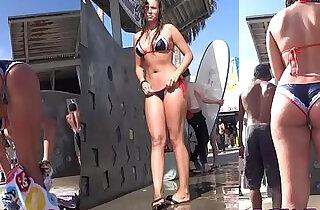 Bikini cameltoe thong ass voyeur beach
