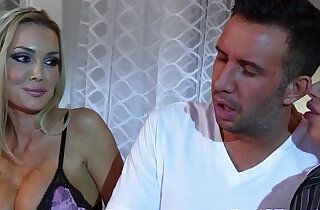 Busty amateur blonde wife shares her man with hot pal