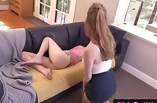 Cute hairy lesbian Sondrine licked on the couch