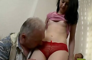 Old chap eats young cum hole