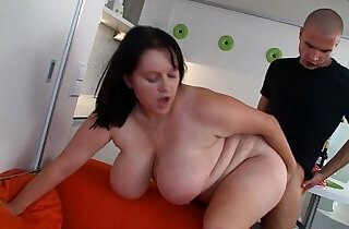 Huge bitch is banged at the kitchen