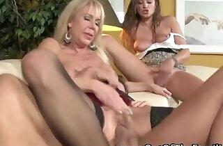 Mom and daugher team share stepdad cock