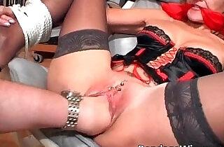 Tied up slut gets drilled in her