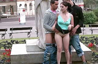 PUBLIC street sex teens GANG BANG by a famous statue