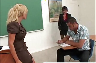 Blonde Brunette Double Team a Lucky Student