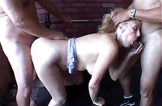 Sexy old spunker gets spit roasted