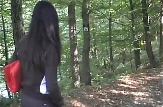 Video with busty naughty black girl loves sucking fucking nude outdoor