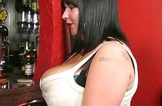 Busty barmaid sucks and fucks at workplace