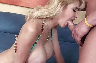 Blonde soccer mom Tara Moon gets her huge big tits covered in cum