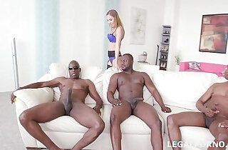 Black Buster, Mike Chapman CO take care of Lexy Star for hard doggy style anal fucking and DP