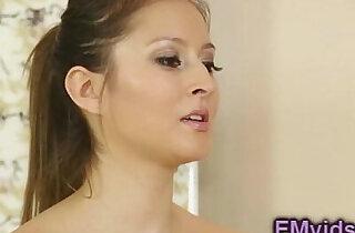 Beautiful brunette sucking