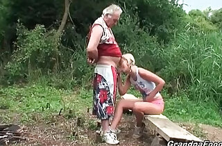Blonde euro babe gives great head in the nature