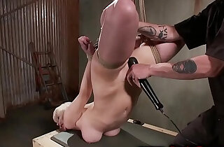 Hogtied sub gets wet pussy whipped by her lucky master
