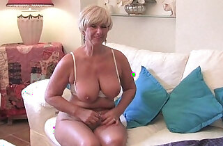 Chubby grandma with big old tits sucks fucks a vibrator