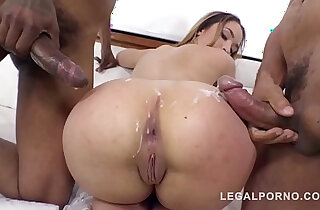 Briana Bounce gangland style interracial DP in that Big Butt