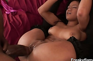 hot brunette lets monster black dick tear mouth before ripping her cunt in a hard ass fuck
