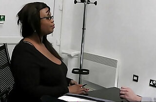 Ebony fatty pleases her future boss