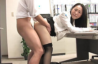 Asian lady shagged by two coworkers in her office