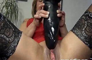 Gigantic dildo fuck and squirting orgasms