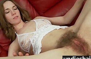 Hairy Twat Hot Teen plays With Cum
