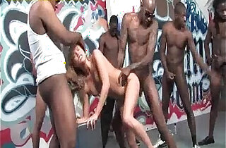Black Group Gangbanging a Blonde ChickChick