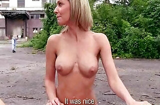 Shy Czech girl is convinced the flash fuck in public for cash